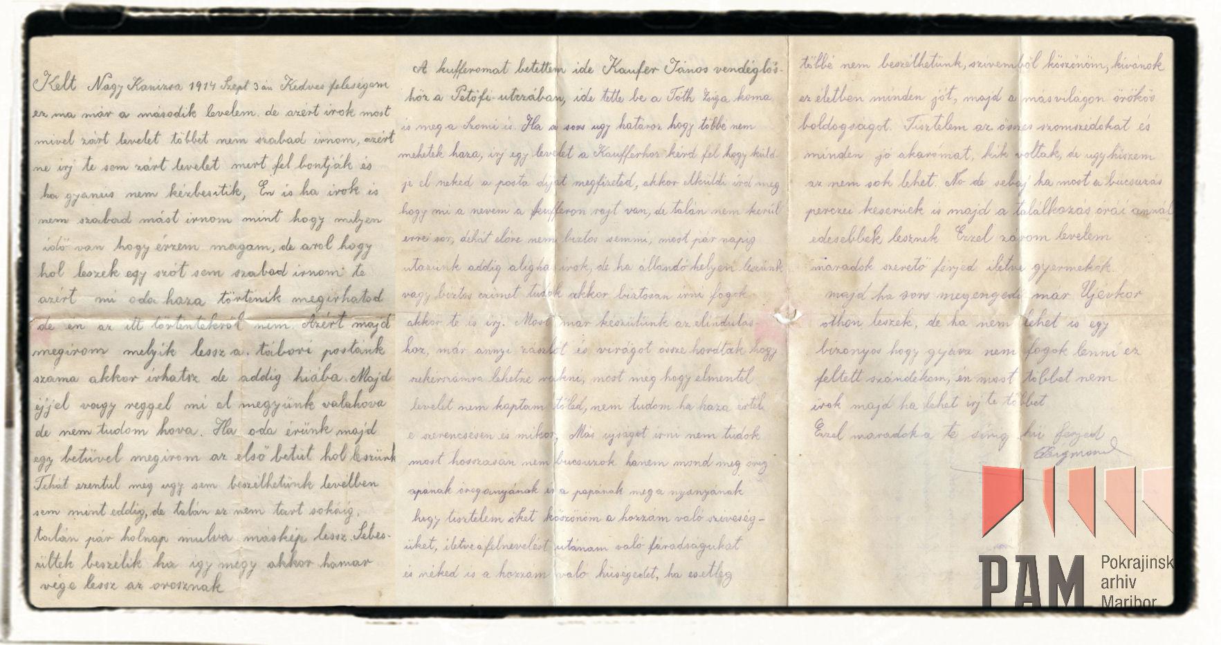 Letter 5 September 3 1914 Nagykanizsa Pokrajinski arhiv Maribor